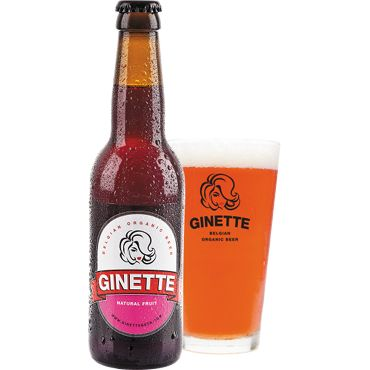 Ginette Natural Fruit in bierglas met fles ernaast